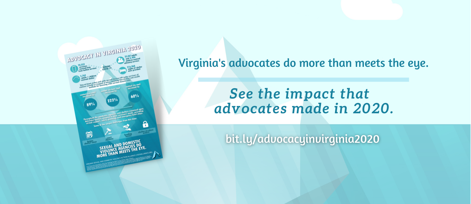 Iceberg in teal with the words Virginia's advocates do more than meets the eye. See the impact that advocates made in 2020.