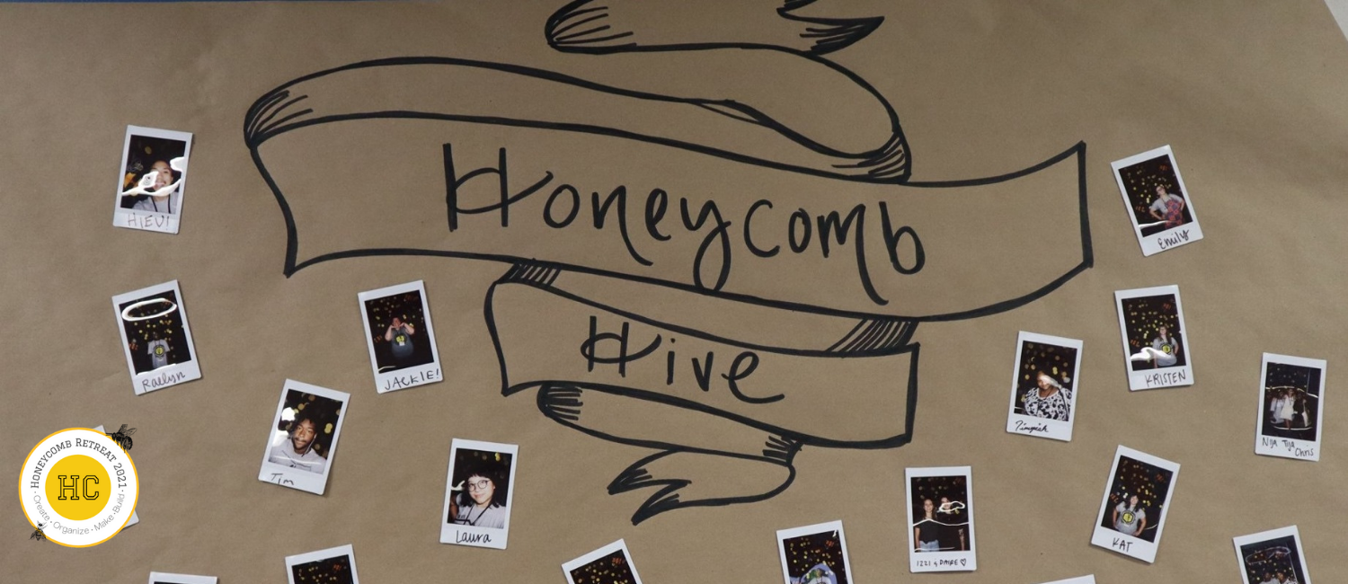 Brown craft paper with Honeycomb Hive handwritten in black block letters with polaroid photos of people scattered around. In the bottom left corner, a round logo with yellow circle inside with letters HC and words Honeycomb Retreat 2021 around it.