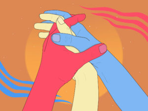 Image of three colorful hands holding each other.