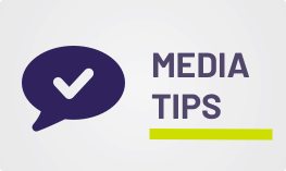 "Transparent image of a purple speech bubble with a check mark inside, and text to the right that reads ""Media tips""."
