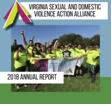 """Photo of group in lime green shirts with fists raised and holding a banner. Overlayed text reads """"Virginia Sexual and Domestic Violence Action Alliance. 2018 Annual Report""""."""