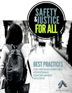 "Cover of ""Safety and Justice for All"" Best Practices for Virginia Campuses Addressing Gender-Based Violence"