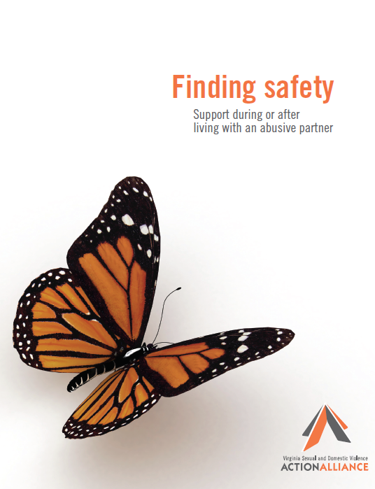 Finding Safety Booklet Cover has a monarch butterfly on a white background with the words Finding Safety: Support during or after living with an abusive partner