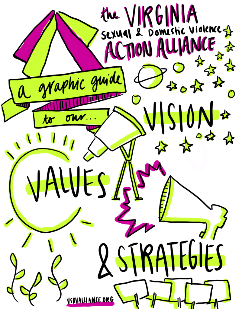 """Cover image of Action Alliance's document, """"A Graphic Guide to Our Vision, Values, and Strategies"""""""