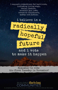 "Image of a starry night sky over a cliff-side with text overlayed that reads ""I support protections for survivors, including living wage, racial justice, sensible gun laws, access to healthcare, safety and justice. I believe in a radically hopeful future and I vote to make it happen. Remember to vote the first Tuesday in November!"""