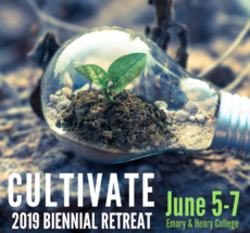 """Image of a light bulb with a small plant growing inside and text overlayed that reads """"Cultivate: 2019 Biennial Retreat""""."""