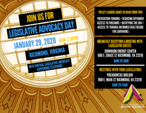 "Graphic of a ceiling window with text that reads ""Join us for Legislative Advocacy day, January 29, 2020, 8am-2:30pm, Richmond, Virginia. With virtual legislative advocacy happening statewide!"" and a schedule of events."