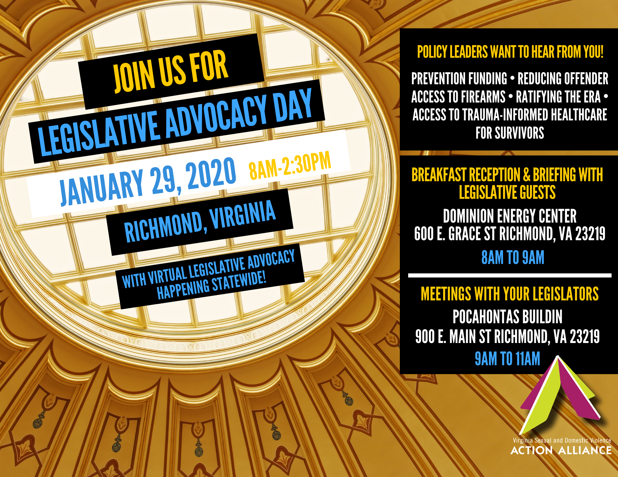 "Looking up at a skylight dome of an ornately decorated hall overlaid with text: ""Join us for Legislative Advocacy Day, January 29, 2020, 8am-2:30pm, Richmond, VA, with virtual legislative advocacy happening statewide!"""