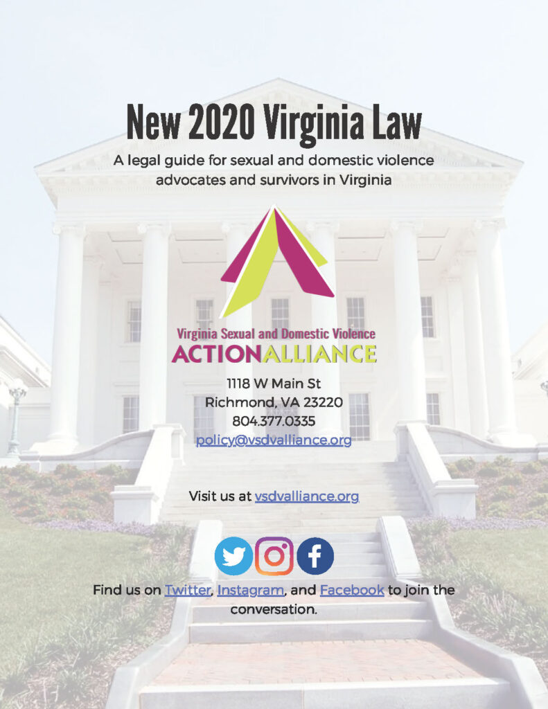 Cover of the New 2020 Virginia Law resource has text in the foreground with image of entrance to Virginia General Assembly building in the background.
