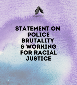 "Image of a blue, purple, and gray background with text that reads ""Statement on Police Brutality & Working for Racial Justice""."
