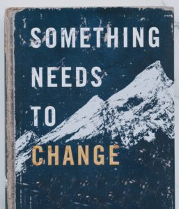 "Book cover with white snow-capped mountains on blue background with the words ""Something Needs to Change"""