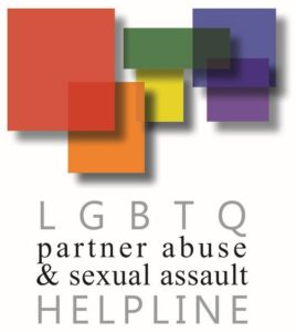 "Image of overlapping rainbow squares with the text ""LGBTQ partner abuse and sexual assault helpline"""