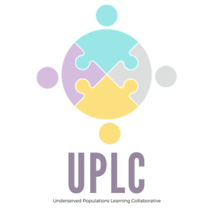 "Image of the UPLC or ""Underserved Populations Learning Collaborative"" logo which consists of four puzzle pieces that also resemble people fitting together."