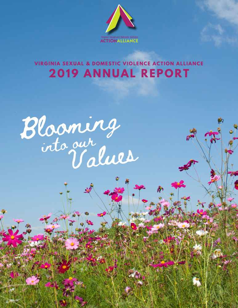 "Cover of the 2019 Annual Report features a blue sky and field of pink, purple, and white wildflowers, with the title ""Blooming into our values"" in white text."