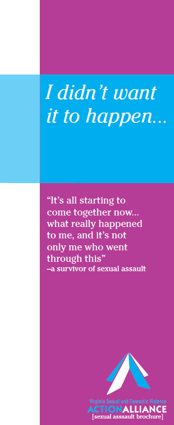 The cover of the brochure about sexual assault has a purple vertical bar down the right side, white band down the left side, and a blue horizontal bar across the top with the title of the brochure, I didn't want it to happen