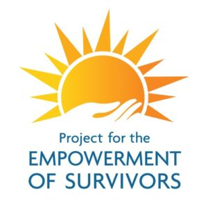 "Logo of a sun being held up by a hand with text underneath that reads ""Project for the Empowerment of Survivors""."