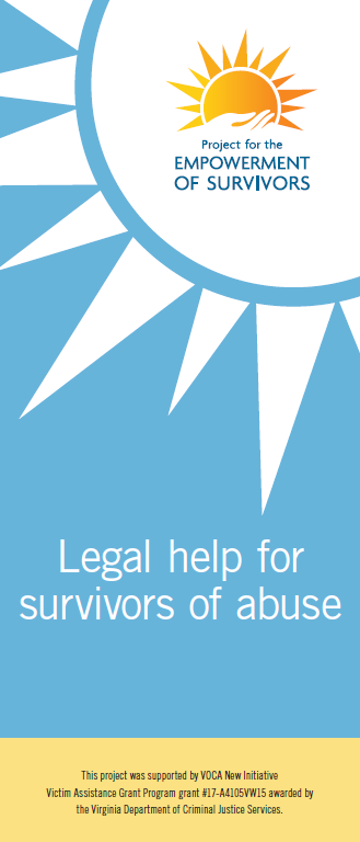 Cover of brochure for the Project for the Empowerment of Survivors featuring a blue background with white graphic of sun in the upper right corner. The words Legal help for survivors of abuse.