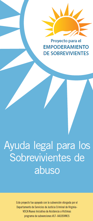 Cover of brochure for the Project for the Empowerment of Survivors featuring a blue background with white graphic of sun in the upper right corner. The word, Ayuda legal para los sobrevivientes de abuso.