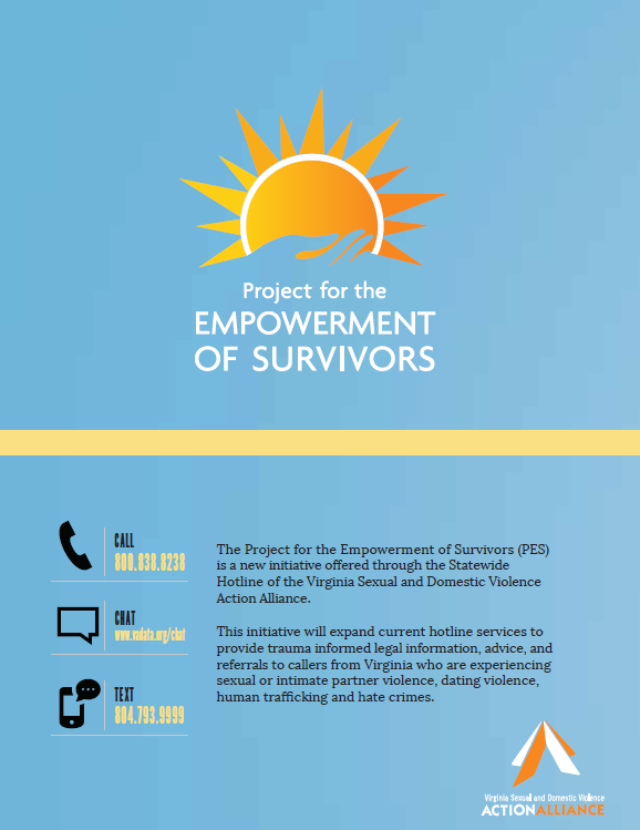 Image of the first page of the flyer about the Project for the Empowerment of Survivors in English features the PES logo of an image of a hand holding the sun on a blue background.