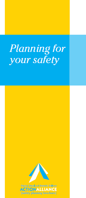 The cover of the Safety Planning brochure in English has a yellow vertical bar down the right side, white bar down the left side, and a horizontal blue bar with the words, Planning for your safety.