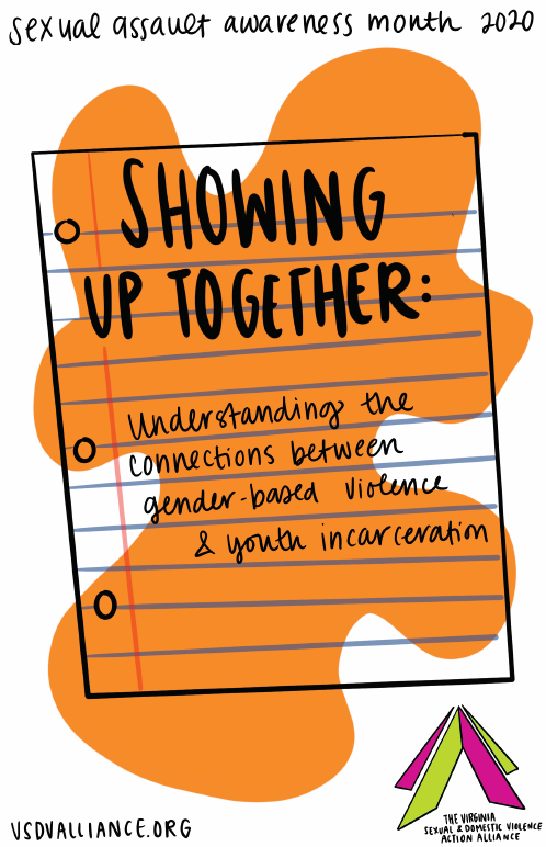 Cover art for the resource Showing Up Together that features a hand drawn sheet of looseleaf paper and an orange blob background.