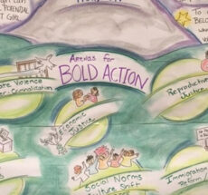 "Drawing with main text which reads ""Arenas for Bold Action"" and smaller circles with drawings of people titled ""State violence and over-criminalization"", ""Economic justice"", ""Reproductive justice"", ""Electoral politics"", ""Social norms and culture shift"", and ""Immigration reform/detention""."