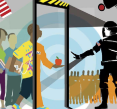 Animated image of children preparing to walk through a metal detector in a school, with police officers in tactical gear on the other side. One African American student is walking through the metal detector and is transformed from wearing school clothes to wearing an orange prison jumpsuit.