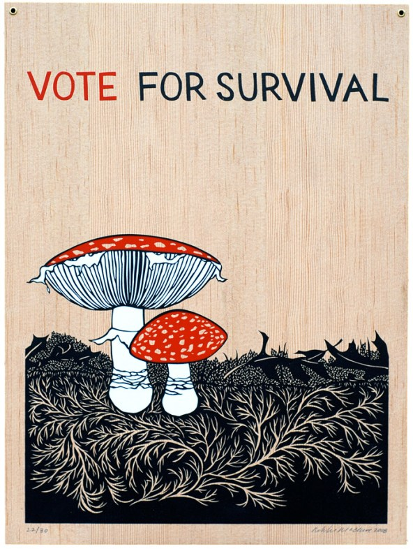"""An image of two mushrooms with red tops, one larger and one smaller, next to each other on top of a black grassy ground with a light wood grain background. At the top are the words, """"vote for survival."""""""