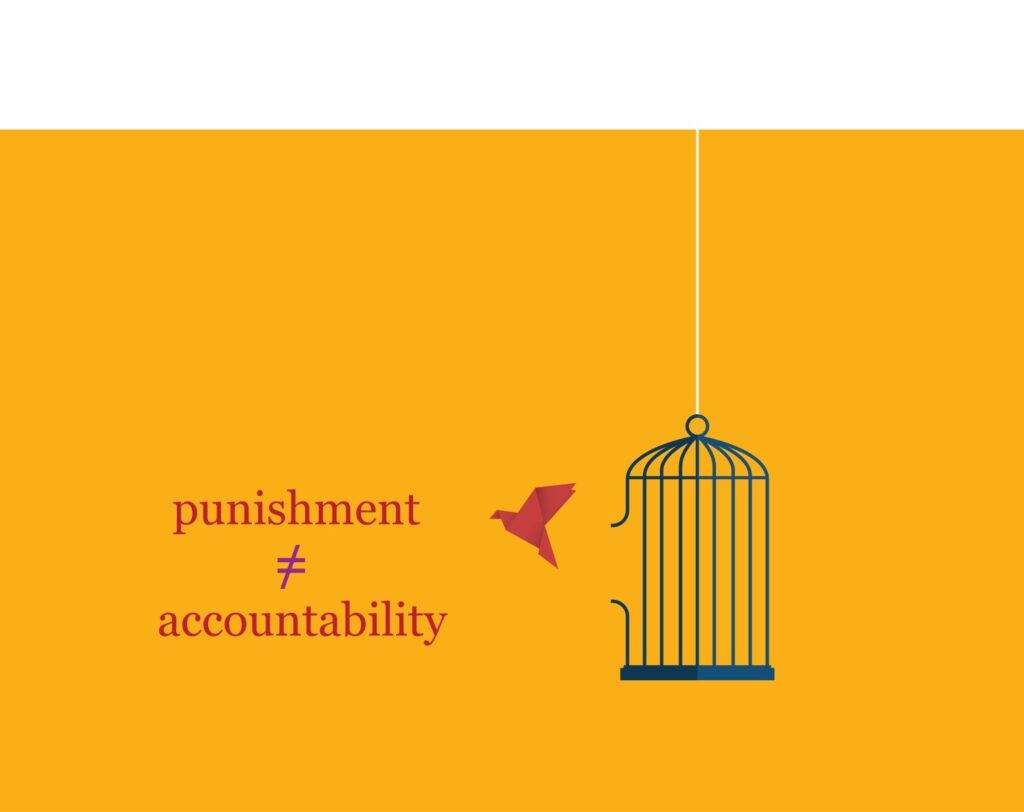 Orange background with a red origami bird flying free of bird cage with broken bar that is hanging by a white string. The words punishment does not equal accountability are in red on the left.
