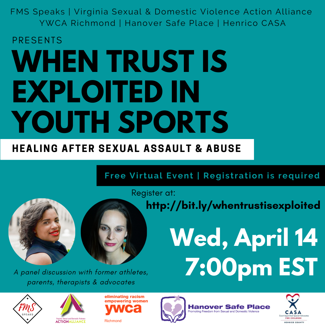 """Green-blue background with black type with the words """"When Trust is Exploited in Youth Sports"""" and two photos of women in circle frames. Along the bottom a white block with logos of event sponsors."""
