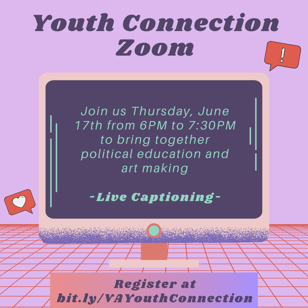 Purple background with graphic of a computer monitor with information about registering for Youth Connection Zoom.