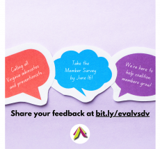 Lilac purple background with three speech bubbles; the left in red-orange, the middle in blue, and the right in dark purple. All speech bubbles with white text providing information on taking the Member Survey.