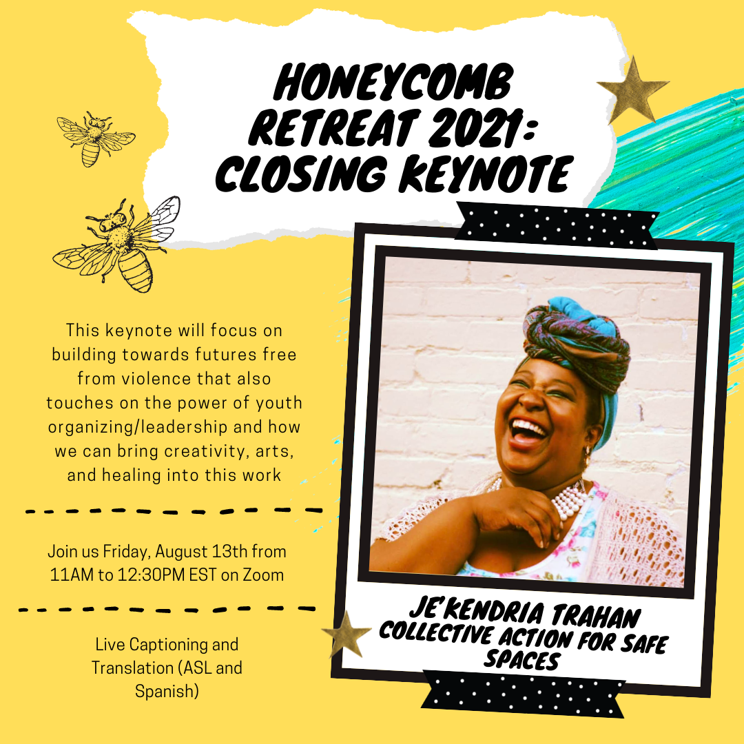 A yellow background with drawn outlines of bees, a photo in a polaroid frame of a person laughing with their head titled back slightly in front of a white painted brick wall. This image announces the Honeycomb Retreat 2021: Closing Keynote address by Je'kendria Trahan from Collective Action for Safe Spaces.